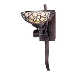 Maxim Lighting - Art Deco Retro 1 Light Up Lighting Wall SconceMeridian Collection - Multiple-sized rings artfully welded to one another form modern sculptures in the Meridian collection.