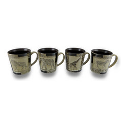 Zeckos - Set of 4 Animal Safari Beige and Brown Glazed Ceramic Coffee/Tea Mugs - Whether it's an exotic blend of coffee or your favorite tea, this set of four mugs are perfect for starting your day with family or friends, and your favorite beverage Made of ceramic with a glossy finish, each mug features an exotic animal on a beige background that looks like stone with a contrasting dark brown interior. Holding 13 ounces, they could also be used to serve up a yummy ice cream treat, a hot/cold cup of soup, or marshmallow topped hot cocoa on a cold winter's day Each mug measures 4 inches tall, 3.75 inches diameter (10x9 cm), and 5.5 inches long including the handle, and are microwave and dishwasher safe. This set of 4 mugs would make a wonderful gift for a safari loving friend sure to be enjoyed.