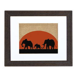 Fiber and Water - Elephant Sunset - A great silhouette of an elephant family walking past a beautiful sunset. This hand-printed piece of art has beautiful texture from a combination of natural burlap and water-based paints. Framed in a wooden, distressed black frame and made in the U.S.A.