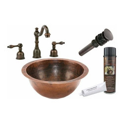 Premier Copper Productsu - Undermount Round Copper Sink w/ORB Faucet - BSP2_LR14FDB Premier Copper Products Small Round Under Counter Hammered Copper Sink with ORB Widespread Faucet, Matching Drain and Accessories