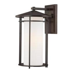 Minka Lavery - Minka Lavery Outdoor 72313-615B Addison Park Dorian Bronze 1 Light Wall Sconce - Etched Opal Glass Shade