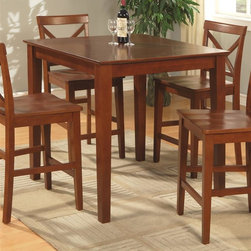 East West Furniture - 36 in. Pub Table - Made from Asian solid wood. Rich brown finish. Assembly required. 36 in. L x 36 in. W x 36 in. H (40 lbs.)