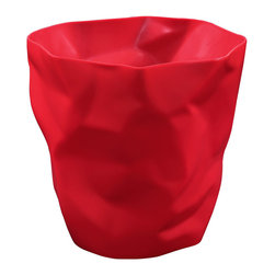Modway Furniture - Modway Lava Trash Bin in Red - Trash Bin in Red belongs to Lava Collection by Modway Lava was designed for those who appreciate the irony of a trash can, that is effectively throwing itself in the trash. While there��_��_��_��_��_��_s likely some quantum physics behind this, we prefer to think of Lava as a study in self-reference. As you crumple up those pieces of paper, you can be reminded that your receptacle has already beat you to it. More than just a conversation piece, Lava turns the once ordinary task of trash disposal, into something humorous and uplifting. Set Includes: One - Lava Modern Trash Bin Trash Bin (1)