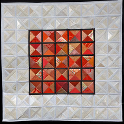 me - Contemporary Quilts - Sewn Japanese papers and silk with gold leaf.  My compositions are based on contemporary quilt designs but are sewn on a much smaller scale.  Generally framed under glass for permanent installation.