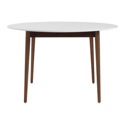 Eurostyle - Manon Round Dining Table - White/Dark Walnut - Probably the most striking thing about these tables is the contrast between the matte white tops and the solid oak legs finished in walnut. Somehow the design straddles a more traditional approach with the walnut finished legs and the more modern plain white top. It's a great look.