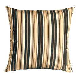 Pillow Decor - Pillow Decor - Sunbrella Foster Classic Outdoor Pillow - A classic combination of black, gray and sand stripes gives this Sunbrella Outdoor Pillow a distinct air of sophistication. Combine it with the Sunbrella solid color black or coal black pillows to make a truly stunning set.