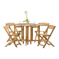 Great Deal Furniture - Zuma Outdoor 5pc Natural Stained Wood Folding Dining Set - The Zuma Outdoor 5pc Natural Stained Wood Folding Dining Set is functional and stylish for your outdoor space. This set includes 4 armless folding dining chairs and a convertible table that folds and expands according to your dining space needs. The folding feature of the table and chairs allows for easy storage and transportation. The neutral color of the Zuma Dining Set can easily compliment your existing outdoor patio furniture and will enhance your outdoor dining and entertaining.