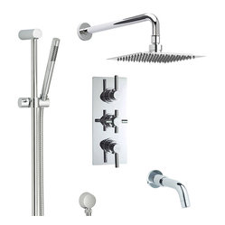 Tec Thermostatic 3 Way Shower Valve Faucet Set With Diverter, Fixed Square Head,