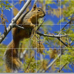 Picture-Tiles, LLC - Tree Animals Photo Wall Tile Mural 29 - * MURAL SIZE: 36x48 inch tile mural using (12) 12x12 ceramic tiles-satin finish.