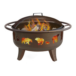 Patio Lights Firedance Bears & Paw Metallic Brown/Matte Black Screen Fire Pit