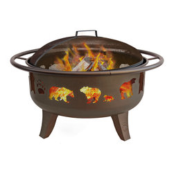 Landmann - Patio Lights Firedance Bears & Paw Metallic Brown/Matte Black Screen Fire Pit - Firelight, s'mores and bears, oh my! This fanciful fire pit with an enamel cooking grate doubles as a grill, making it the perfect addition to your outdoor space. Bear-shaped cutouts in the solid steel base offer a 360-degree of the fire.