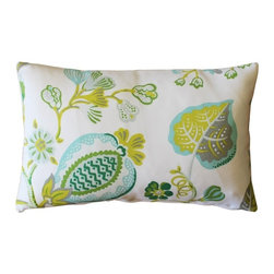 Pillow Decor - Pillow Decor - St. Thomas Lime Outdoor Throw Pillow12x20 - This fresh and colorful rectangular indoor-outdoor throw pillow features stylized flowers and leaves in greens, gray, yellow, lime and blue. This crisp, floral pattern, patio pillow, pairs perfectly with the Sunbrella Macaw Green outdoor pillow. The UV and mildew resistant outdoor fabric is soft enough for this pillow to used indoors and outdoors.