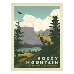 Anderson Design Group - Art & Soul of America: Rocky Mountain National Park Gallery Print - Anderson Design Group has created an award-winning series of classic travel posters that celebrates the history and charm of America's greatest cities and national parks. Founder Joel Anderson directs a team of talented Nashville-based artists to keep the collection growing. This print displays the rugged majesty of Rocky Mountain National Park. Original, hand-illustrated design from Anderson Design Group in Nashville, TN.