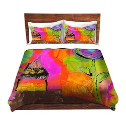 DiaNoche Designs - Duvet Cover Twill - Glitter House - Lightweight and super soft brushed twill Duvet Cover sizes Twin, Queen, King.  This duvet is designed to wash upon arrival for maximum softness.   Each duvet starts by looming the fabric and cutting to the size ordered.  The Image is printed and your Duvet Cover is meticulously sewn together with ties in each corner and a concealed zip closure.  All in the USA!!  Poly top with a Cotton Poly underside.  Dye Sublimation printing permanently adheres the ink to the material for long life and durability. Printed top, cream colored bottom, Machine Washable, Product may vary slightly from image.