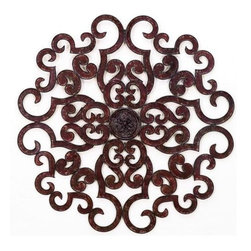 """38"""" Round Scroll Design Wall Grille - Brown Taupe 38"""" Round Scroll Design Wall Grille Forged by master craftsmen of tole Hand finished in a multi-step process 38"""" diameter Weight: 9 pounds 12 ounces Hooks on back for hanging"""