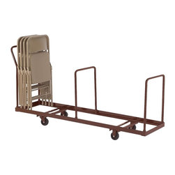 National Public Seating - Folding Chair Dolly for Vertical Storage - This well constructed dolly with 3 tubular handles which provide excellent handling for corners is made from USA steel with a Brown powder coat finish. The Vertical Stacking Folding Chair Truck Rolling Dolly provides a secure means of transportation for folded chairs, with 4 castors: 2 swivel and 2 stationary. A folding chair truck like this is exactly what you need if you intend on purchasing many of our folding chairs. This cart will allow you to put each of the chairs on the cart and then move them around from place to place. Great for schools, churches, and businesses this cart will pay for itself in convenience! * Three tubular handles one at each end and one in middle. Easy handling with two swivel and two stationary casters. Steel contains 30-40% of post-consumer waste (recycled). 35 chair capacity. Warranty: Five years for material. Made from brown powder coated 2 in. x 2 in. steel. Weight capacity: 1200 lbs.. 4 in. Dia. rubber wheels. 81 in. L x 19.25 in. W x 38.5 in. H