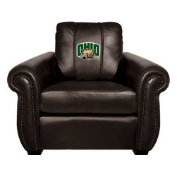Dreamseat Inc. - Ohio University NCAA Chesapeake Black Leather Arm Chair - Check out this Awesome Arm Chair. It's the ultimate in traditional styled home leather furniture, and it's one of the coolest things we've ever seen. This is unbelievably comfortable - once you're in it, you won't want to get up. Features a zip-in-zip-out logo panel embroidered with 70,000 stitches. Converts from a solid color to custom-logo furniture in seconds - perfect for a shared or multi-purpose room. Root for several teams? Simply swap the panels out when the seasons change. This is a true statement piece that is perfect for your Man Cave, Game Room, basement or garage.