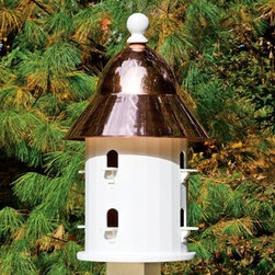 Lazy Hill Farms Polished Copper Roof Bell House - With its flashy polished copper roof and cozy accommodations for eight, the Lazy Hill Farms Polished Copper Roof Bell House is a perfect addition to your garden. The body of this stunning bird house is made of white, solid cellular vinyl, which is an excellent alternative to wood as it looks and feels like wood yet requires no maintenance. The bell shaped, polished copper roof removes for easy cleaning and this bird house includes a metal plate for post mounting. About Lazy Hill Farm Designs Lazy Hill Farm Designs is a leader in garden and birding accessories. They are known for turning exquisite designs into exceptional quality garden accessories. All Lazy Hill Farm products are made of solid cellular vinyl that looks and feels like genuine wood yet requires no maintenance. All the roofs are removable for easy cleaning and each one is handcrafted in America. These are among the finest garden accessories on the market.