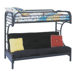 """Monarch Specialties - Monarch Specialties I 2232K Black Metal Twin / Futon Bunk Bed - This black metal, """"C"""" style twin over full futon bunk bed will make a fun and inviting addition to your child's bedroom. Convenient built in ladders on each side leads up to the top bunk which is surrounded with full length guard rails for extra piece of mind. The futon couch which can be converted into a full sized bed is ideal for a child with frequent slumber parties or when company arrives! Bunk Bed (1)"""