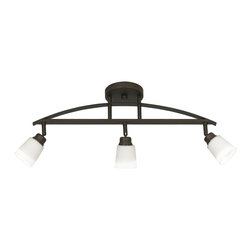 "ProTrack - Contemporary Pro Track® Redding Bronze Adjustable Track Fixture - Add this track fixture to your ceiling for a fresh new look. Swiveling arms directional lighting while the bronze finish creates a sense of distinct elegance. White glass shades complete the look and provide warm illumination for any room. From Pro Track® Lighting. Bronze finish. White glass shades. Adjustable multi-directional lights. 120-volt line voltage design. Includes three 35 watt GU10 halogen bulbs. 23"" wide. 10 1/4"" high. Canopy is 5"" wide 3/4"" high. Glass is 2 3/4"" wide 2 3/4"" high.  Adjustable multi-directional lights.  Bronze finish.  White glass shades.  120-volt line voltage design.  Includes three 35 watt GU10 halogen bulbs.  23"" wide.  10 1/4"" high.  3 3/4"" deep.  Canopy is 5"" wide 3/4"" high.  Glass is 2 3/4"" wide 2 3/4"" high."