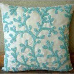 Sea Weeds Throw Pillow Cover - I love the coral reef look paired with the shiny beads. It makes this look so classy.