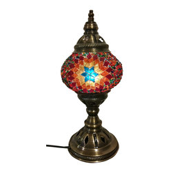 Jay Bazaar - Tristar Medium Modern Mosaic Lamp, Authentic Desk Lamp, Moroccan Style Lamp - Tristar Medium Authentic, one of a kind design, gold color tone mosaic decoration night lamp.