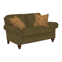Broyhill - Broyhill Larissa Green Olive Loveseat with Cherry Wood Finish - Broyhill - Loveseats - 61121Q - About This Product: