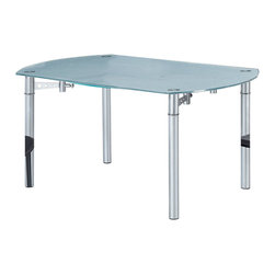 Global Furniture - Global Furniture USA 135DT Extension Round Frosted Glass Dining Table - This dining table is frosted/clear with silver legs and will be just the right fit for your dining space.
