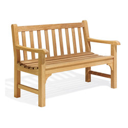 Oxford Garden - Essex 4' Bench - Constructed using dimensionally larger lumber, the Essex 4' Bench adds weight to any landscape. Designed with commercial use in mind and handcrafted of shorea hard wood using mortise and tenon joinery, this bench is extremely sturdy and long lasting.