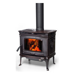 Pacific Energy Alderlea T4 Classic Series 26'' x 28'' Wood Burning Stove - The timeless beauty of the cast iron T4 ,with the added grace of porcelain enamel. The T4 Classic provides full Alderlea performance in classic style.