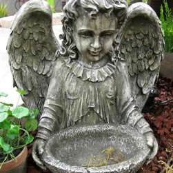 "17"" Garden Angel Bird Bath - This garden angel bird feeder has a weathered stone finish but is made of durable lightweight poly-resin."