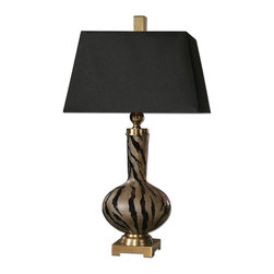 Amur Modern Smoked Glass Lamp - *Smoked Etched Glass With Polished Black Details And Plated Brushed Brass Accents. The Tapered, Rectangle Hardback Shade Is A Black Linen Fabric With A Burnished Gold Painted Inner Liner.