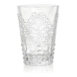 Alegre Clear Beverage Glass - Opulent play of pattern and texture adds vintage flair to contemporary glass. Versatile tumbler is crafted of glass, molded with lively embossed hobnails, disks and botanical flourishes to enhance servings of wine, water, soft drinks, and juice.