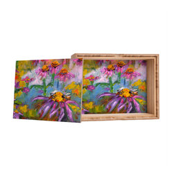 DENY Designs - Ginette Fine Art Purple Coneflowers And Bees Storage Box - Love yourself a knickknack or two (or three)? Well, then this is the box for you! The Amber Bamboo wooden Storage Box is available in two sizes with a printed exterior lid and interior bottom. So, you can still be a collector of sorts, but now you've got an organized home for it all. 100% sustainable, eco-friendly flat grain amber bamboo wood box with printed glossy exterior lid and interior bottom. Custom made in the USA for every order.