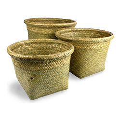 Kona Seagrass Rnd Basket w/Rolled Edge - Set of 3 - Natural - Natural weave suffuses your home with texture, while the warm golden and sage tones that suffuse the Kona Seagrass Round Baskets with Rolled Edge bring authentic appeal to a room.  A sleekly-crafted trio of useful containers for decorative and organizational purposes in the home or office, these baskets have square bases and smooth lips to maximize utility.