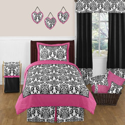 Sweet Jojo Designs - Isabella Pink 4-Piece Twin Bedding Set by Sweet Jojo Designs - The Isabella Pink 4-Piece Twin Bedding Set by Sweet Jojo Designs, along with the bedding accessories.