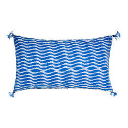 Wanderer Pillow, Small - Made from 100 percent natural cotton, this contemporary pillow in manifold shades of blue will remind you of the seafareres passion for the vast, open ocean. Featuring two distinct reversible blue and white ikat designs, the Wanderer Pillow will evoke memories of past journeys while providing inspiration for future trips.     Pillow comes with a synthetic down, hyper-allergenic insert. Dry Clean Only.