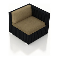 Harmonia Living - Urbana Outdoor Rattan Right Arm Chair, Heather Beige Cushions - The Urbana Outdoor Wicker Right Arm Facing Chair with Tan Sunbrella Cushions (SKU HL-URBN-RAS-HB) is the perfect starting or end point for building your own stylish Urbana Sectional. Made with High-Density Polyethylene (HDPE) wicker, a fade-resistant color is designed to withstand the elements. The section is constructed with a sturdy, thick-gauged aluminum frame, protected with a powder coating for even greater corrosion resistance. The seats are also reinforced to provide support and prevent excessive wicker stretching from repeated use. Both seat and back cushions are included, with your choice among four fade- and mildew- resistant Sunbrella fabric options.