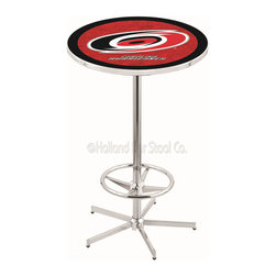 Holland Bar Stool - Holland Bar Stool L216 - 42 Inch Chrome Carolina Hurricanes Pub Table - L216 - 42 Inch Chrome Carolina Hurricanes Pub Table  belongs to NHL Collection by Holland Bar Stool Made for the ultimate sports fan, impress your buddies with this knockout from Holland Bar Stool. This L216 Carolina Hurricanes table with retro inspried base provides a quality piece to for your Man Cave. You can't find a higher quality logo table on the market. The plating grade steel used to build the frame ensures it will withstand the abuse of the rowdiest of friends for years to come. The structure is triple chrome plated to ensure a rich, sleek, long lasting finish. If you're finishing your bar or game room, do it right with a table from Holland Bar Stool.  Pub Table (1)
