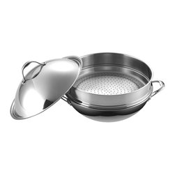 "Cooks Standard - Cooks Standard Multi-Ply Clad 5-Ply Stainless Steel Chef's Pan with Steamer, 13"" - What's in box? 13-inch diameter 32cm, Chef's Pan with stainless steel High Dome lid, include a steamer insert fit the chef pan perfect. 5 layer clad metal of whole cookware body is craft in highest quality level and ensure excellent cooking performance. Interior is premium 18-10 stainless steel and exterior is magnetic stainless steel, so, it is designed so to compatible for induction stove use. cookware is dishwasher safe, but hand wash is preferred to ensure long lasting shine. use proper cookware cleaner will remove all stain by food and water residue and restore original fine finish. oven safe to 500 F."