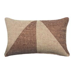 "LaCozi - ""Bello"" Beige Jacquard Oblong Pillow - Add a graphic pop of color to your sofa or chair with this contemporary accent pillow.  Double-stitched seams and reinforced stress points provide durable construction that will last you for years, while the easy-to-remove feather insert makes cleaning a snap."