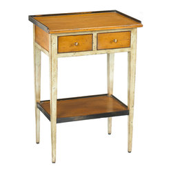 French Heritage - Accent Table, Grey Finish - This vintage accent table is a multipurpose piece! As an end table, book stand, even a between the beds nightstand it is uniquely suited to a wide range of uses.- Two Drawers. - Cherry/Maple. - Weight: 30lbs