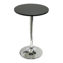 Winsome Trading, INC. - Winsome Wood 93719 Bistro Tea Pub Table - New 20 Tea/snack table pairs nicely with our S/2 swivel chairs (item 93220) to make a comfy spot to sit and have drinks or coffee and a chat. Made of durable MDF material the table top is finished in matte black and has a chrome color leg.
