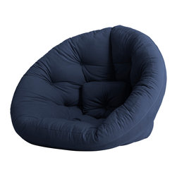 Fresh Futon - Nest Convertible Futon Chair/Bed, Navy Mattress - After a long hard day you can feel snug retreating to the Nest by lounging in this folded cone-shaped chair or lying on it unfolded as a mattress, you can even combine two for an even wider spread or some late-night incubating.Winner of theBest ProductInnovation Cup 2009. Available in 9 twill fabric color options.