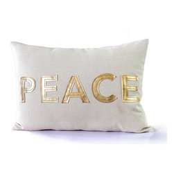 14 Karat Home - 'Peace' Appliqué Pillow - Perfectly modern.  Our Peace pillow is made of a soft, natural cotton blend fabric with our bold gold faux applique lettering spelling out PEACE.  See our Joy pillow and pair the two. Toss in any room in the house and let the holiday spirit shine through with JOY and PEACE.