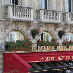 Paris, street cafe, France - These are a sample of the art photography I have available. I have included Paris, Venice, St. Thomas, a Peacock (has been very popular.)  If you like a particular region, let me know I have more files.  I have accounts at more than one nationally recognized photo lab so I can create the photography you desire including canvas or metal prints.If you prefer black and white or sepia, the photography can be made that way as well. Enlargements are available by contacting me.  I also have an Etsy shop nancyhehmann with more photography on that site.