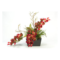 D&W Silks - D&W Silks Cymbidium Orchids in Rectangle Planter - A mix of greenery and a sleek black ceramic bowl compliment the red cymbidium Orchid branches that stand out in this piece. With a natural beauty to it, this piece maintains an organic feel, while still giving a designer a piece that fits into any space.