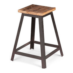 Alma Table-Height Stool - Old-fashioned style is looking good on this rustic���industrial stool. Wide metal bands form a handsomely angled base and dependable legs. The squared seat is made from warm, natural elm wood for a rich and easy-to-incorporate look.