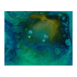 """Douglas Fischer Fine Art - Aqua Duet - Vari Colori Retro Series Painting, Mounting Posts - The """"Vari Colori"""" series consists of paintings of """"various colors"""" applied to clear acrylic panels, canvas panels or gesso board. """"Vari Colori"""" is Italian for """"Varied Colors"""". The """"Vari Colori Retro"""" series (reverse side), takes the """"Vari Colori"""" painting that has been painted on a clear acrylic panel and is presented from the reverse side, as in reverse glass paintings. These images show more of the metallic powders as they settled out, resulting in shimmering layers. Color, light and luminosity are the main themes of most of my current work and series."""