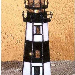 Meyda Tiffany - Montauk Point Lighthouse Accent Lamp - Add a touch of charm to your room with this precious stained art glass accent lamp.  Brilliant shades of red and blue highlight the black and white stripes of the proud lighthouse.  This original piece will produce an enchanting glow to enhance the beauty of your home.    Meyda Tiffany - 20537